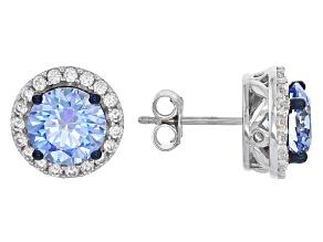 Swarovski ® Blue Zirconia & White Cubic Zirconia Rhodium Over Silver Earrings 7.87ctw