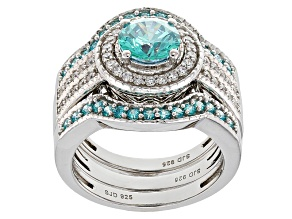 Swarovski ® Green Zirconia & White Cubic Zirconia Rhodium Over Silver Ring With Bands 3.94ctw