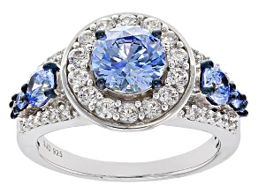 Swarovski ® Blue Zirconia & White Cubic Zirconia Rhodium Over Silver Ring 4.69ctw