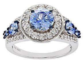 Swarovski ® Blue Zirconia & White Cubic Zirconia Rhodium Over Silver Ring 4.69ctw