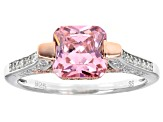 Pink & White Cubic Zirconia Rhodium & 18k Rose Gold Over Sterling Silver Ring 3.80ctw