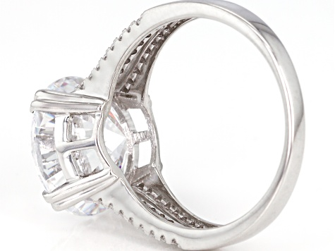 White Cubic Zirconia Rhodium Over Sterling Silver Ring 10.94ctw