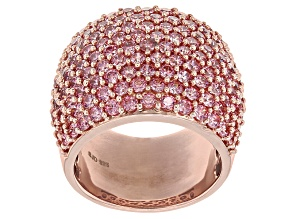 Pink Zirconia From Swarovski ® 18k Rose Gold Over Sterling Silver Ring 7.52ctw