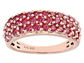 Red Zirconia From Swarovski ® 18k Rose Gold Over Sterling Silver Ring 2.22ctw