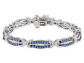 Swarovski ® Blue Zirconia & White Cubic Zirconia Rhodium Over Sterling Silver Bracelet 8.05ctw