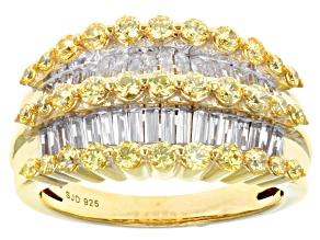 Swarovski ® Yellow Zirconia & White Cubic Zirconia 18k Yellow Gold Over Sterling Silver Ring 2.92ctw