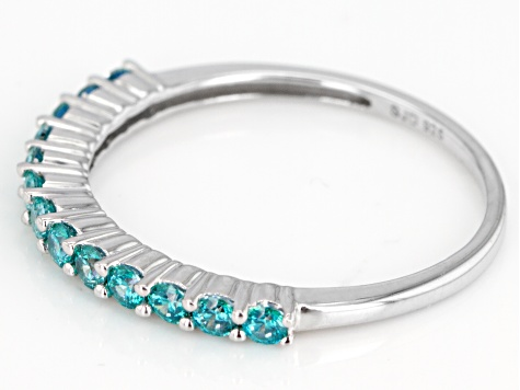 Mint Green Zirconia From Swarovski ® Rhodium Over Silver Ring 0.77ctw