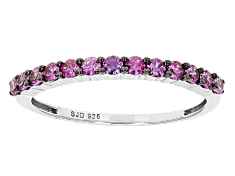 Purple Zirconia From Swarovski ® Rhodium Over Sterling Silver Ring 0.77ctw
