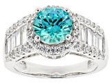 Swarovski ® Green Zirconia & White Cubic Zirconia Rhodium Over Sterling Silver Ring 5.71ctw