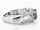 Swarovski ® Purple Zirconia & White Cubic Zirconia Rhodium Over Sterling Silver Ring 5.71ctw