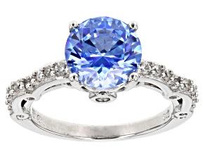 Swarovski ® blue zirconia & white cubic zirconia rhodium over sterling silver ring 5.14ctw