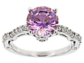 Swarovski ® purple zirconia & white cubic zirconia rhodium over silver ring 5.14ctw
