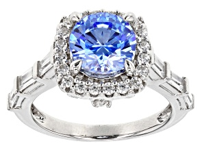 Swarovski ® zirconia blue & white cubic zirconia rhodium over silver ring 4.83ctw