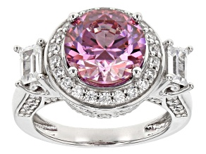 Swarovski ® purple zirconia & white cubic zirconia rhodium over silver ring 8.32ctw