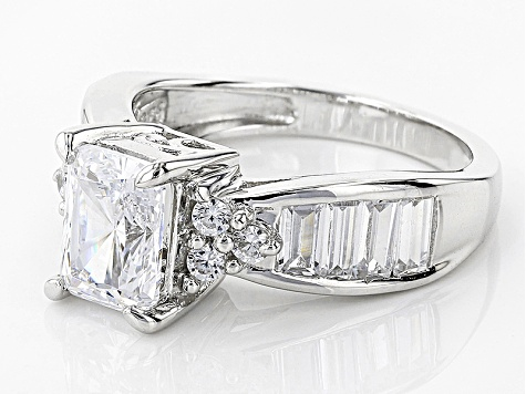 White Cubic Zirconia Rhodium Over Sterling Silver Ring 3.93ctw