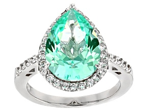 Lab Created Green Spinel And White Cubic Zirconia Rhodium Over Sterling Silver Ring 6.41ctw