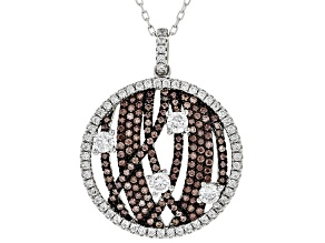Brown & White Cubic Zirconia Rhodium Over Sterling Silver Pendant With Chain