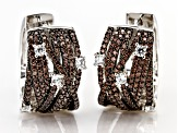 Brown & White Cubic Zirconia Rhodium Over Sterling Silver Earrings 2.60ctw