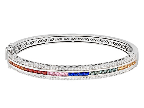 Synthetic Blue & Green Spinel & Multicolor Cubic Zirconia Rhodium Over Silver Bracelet