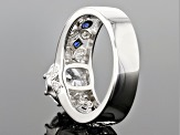 Lab Blue Spinel & White Cubic Zirconia Rhodium Over Silver Ring 3.99ctw