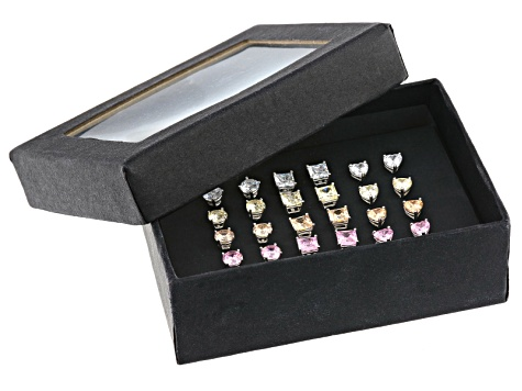 White, Pink, Yellow And Brown Cubic Zirconia Rhodium Over Sterling Silver Earrings Set 18.96ctw