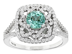 Green Lab Created Spinel And White Cubic Zirconia Rhodium Over Sterling Silver Ring 1.64ctw