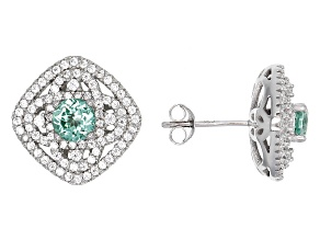 Green Lab Created Spinel And White Cubic Zirconia Rhodium Over Sterling Earrings 2.54ctw