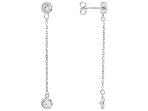 White Cubic Zirconia Rhodium Over Sterling Silver Earrings 3.16ctw