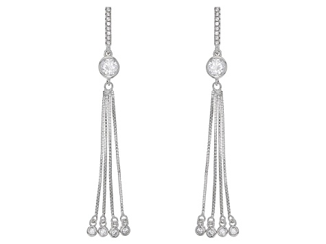 White Cubic Zirconia Rhodium Over Sterling Silver Earrings 2.24ctw