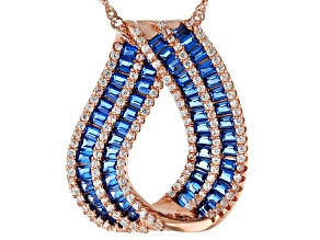 Lab Blue Spinel And White Cubic Zirconia 18k Rg Over Sterling Pendant With Chain 2.81ctw