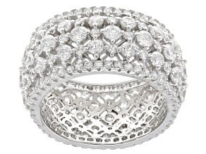 white cubic zirconia rhodium over sterling silver ring