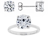 white cubic zirconia rhodium over sterling silver ring and earrings 8.68ctw