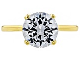 White Cubic Zirconia 18k Yellow Gold Over Sterling Silver Ring and Earrings 8.68ctw