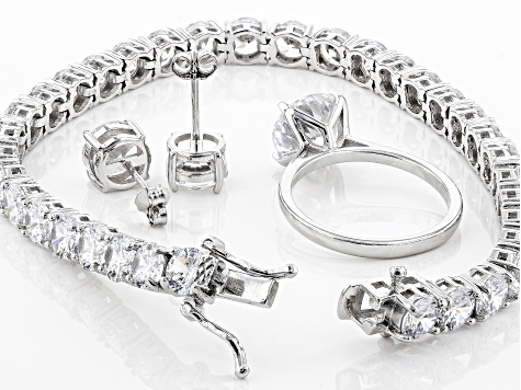 white cubic zirconia rhodium over sterling silver jewelry set 36.34ctw
