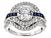 white and blue cubic zirconia rhodium over silver ring