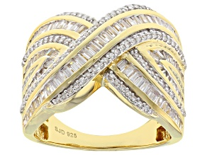 White Cubic Zirconia 18k Yellow Gold Over Sterling Silver Ring 3.10ctw