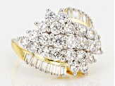 white cubic zirconia 18k yellow gold over sterling silver ring