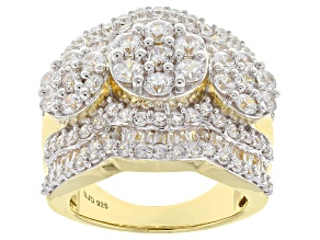 white cubic zirconia 18k yellow gold over silver ring 6.65ctw