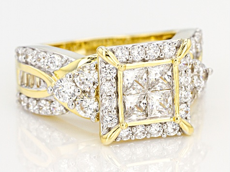 White Cubic Zirconia 18k Yellow Gold Over Sterling Silver Ring 4.00ctw
