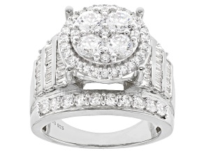 White Cubic Zirconia Rhodium Over Sterling Silver Ring 4.80ctw