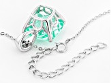 Caribbean Green and White Cubic Zirconia Sterling Silver Pendant 12.77ctw