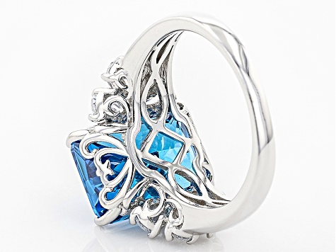 Blue And White Cubic Zirconia Rhodium Over Sterling Silver Ring 12.91ctw