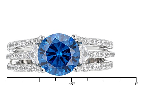 Blue And White Cubic Zirconia Rhodium Over Sterling Silver Ring 4.95ctw