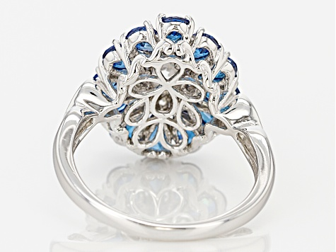 Blue And White Cubic Zirconia Rhodium Over Sterling Silver Ring 4.77ctw