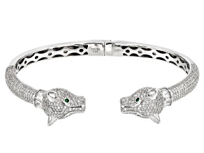 Green and White Cubic Zirconia Rhodium Over Sterling Silver Panther Bracelet 6.65ctw