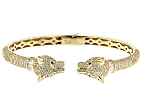 Green and White Cubic Zirconia 18k Yellow Gold Over Sterling Silver Panther Bracelet 6.65ctw