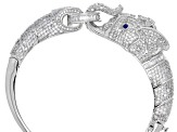 White Cubic Zirconia and Blue Synthetic Spinel Rhodium Over Sterling Silver Elephant Bracelet