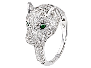 Green and White Cubic Zirconia Rhodium Over Silver Panther Ring 2.89ctw