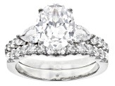 White Cubic Zirconia Rhodium Over Sterling Silver Ring With Band 6.11ctw