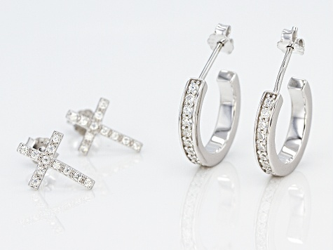 white cubic zirconia rhodium over sterling silver earrings set of 2 1.59ctw